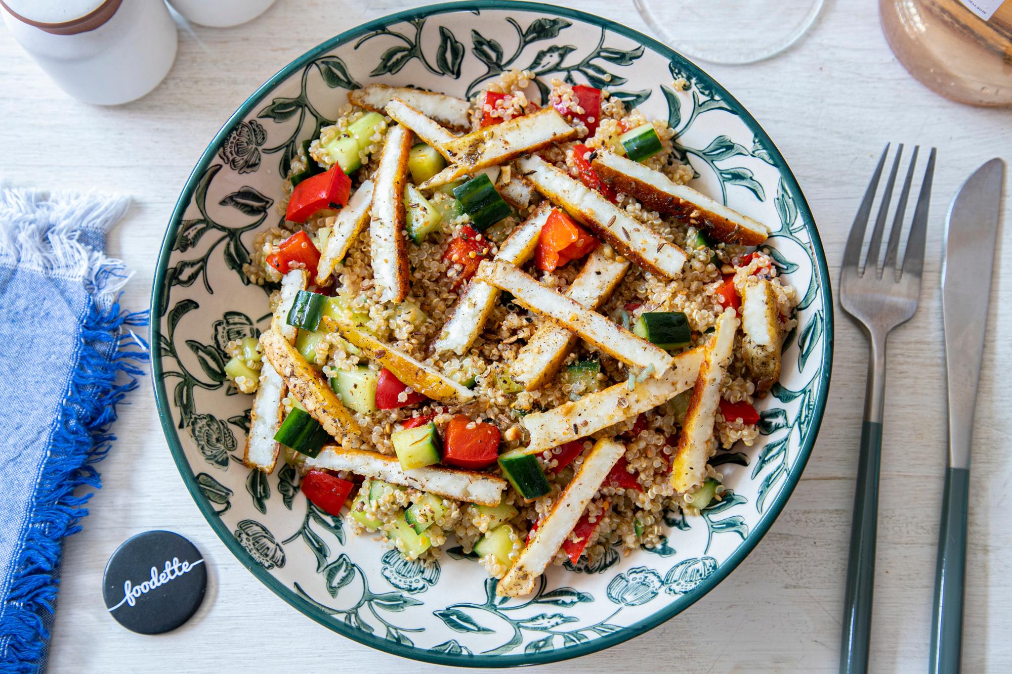 Poivrons et Halloumi grillés, quinoa et Dukkah
