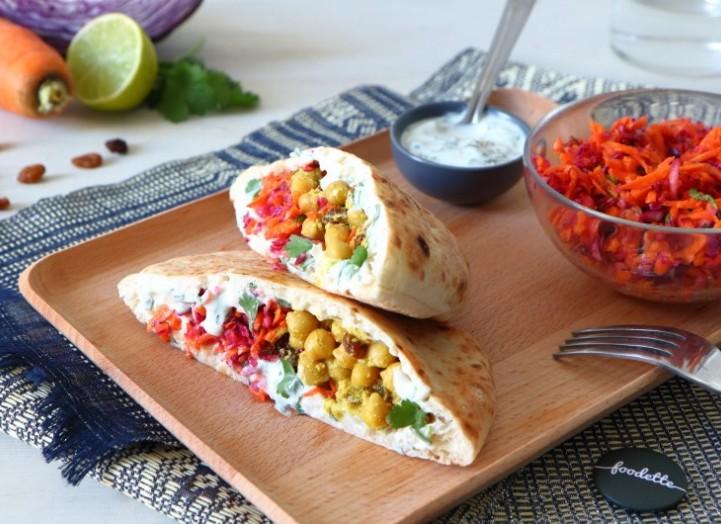 Pita, curry de pois chiches aux épices douces