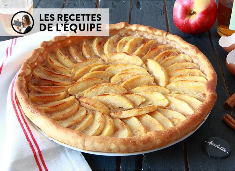 Tarte normande aux pommes, crème fraîche