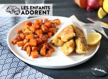 Nuggets de poisson au myrte citronné et patates douces rissolées