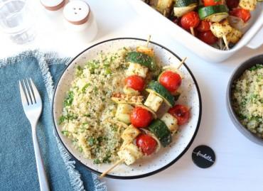 Brochettes d'Halloumi et légumes grillés