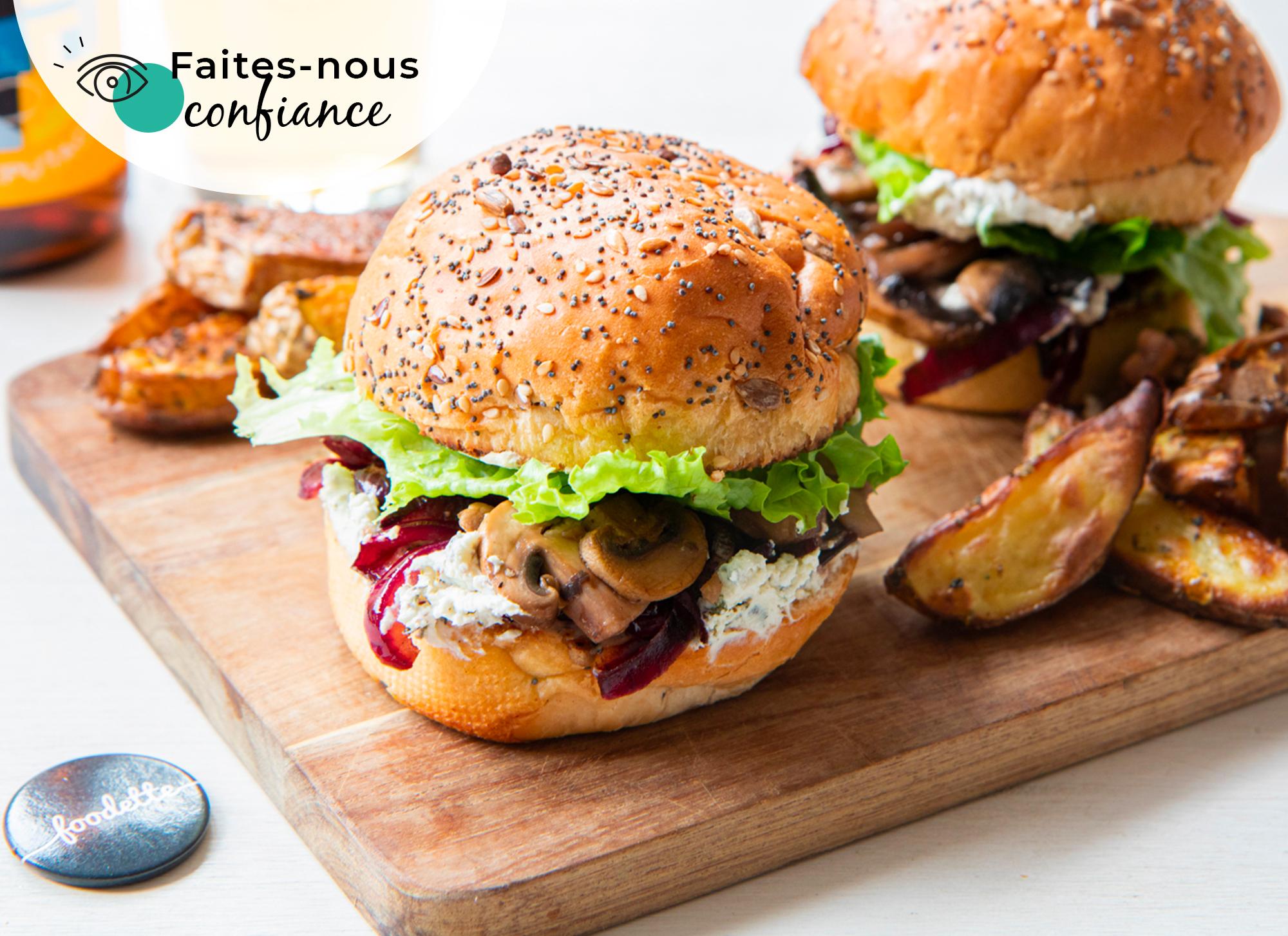 Veggie burger aux champignons et fromage frais aux herbes