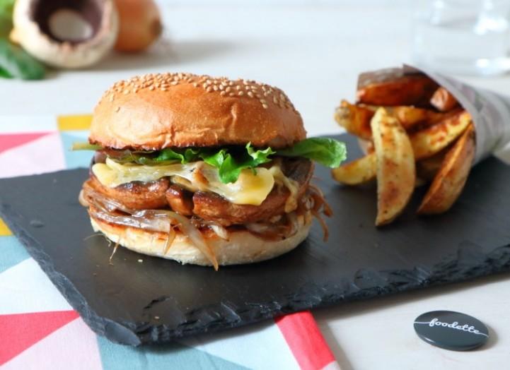 Burger de portobello, comté AOP et confit d'oignon