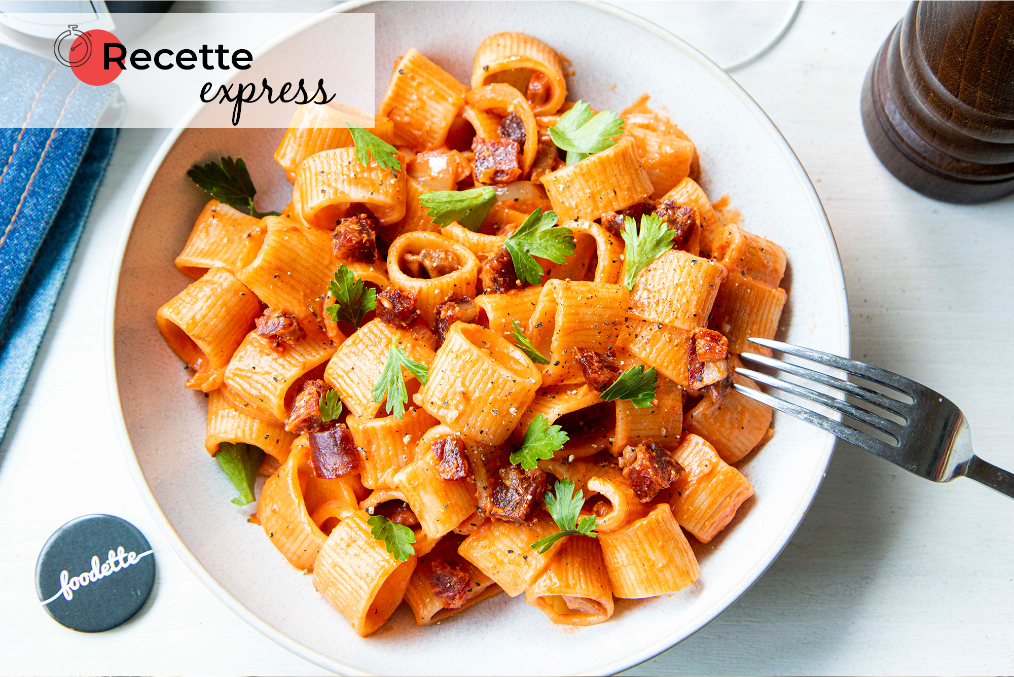Cannelloni rigate et crème au chorizo