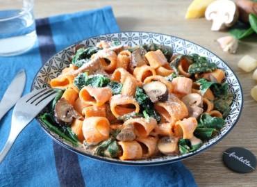 Cannelloni rigate à la crème fumée, champignons et épinards