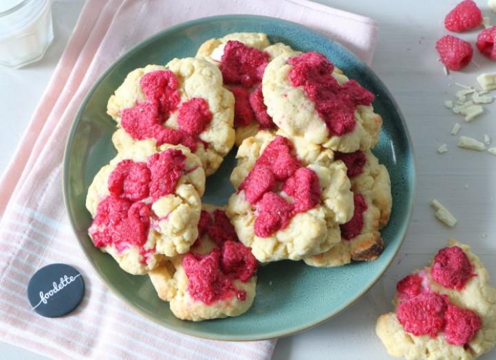 Cookies framboises-chocolat blanc (10-12 cookies)