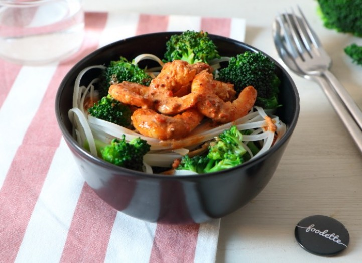 Crevettes sauce saté / coco