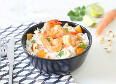 Crevettes caramélisées et riz coco-cajou