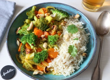 Curry indien et riz pilaf au cumin