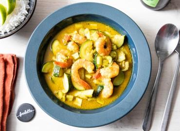 Curry vert thaï de crevettes