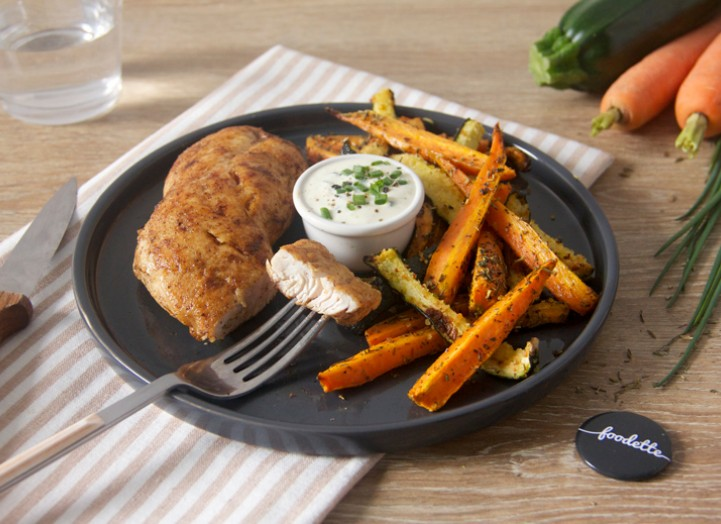 Orange : Dinde fermière grillée et duo de frites à la marjolaine