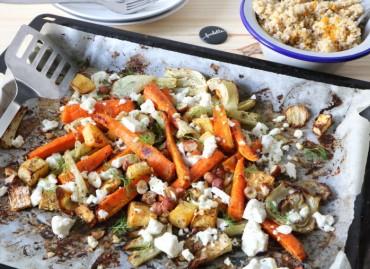 Feta et légumes d'hiver rôtis