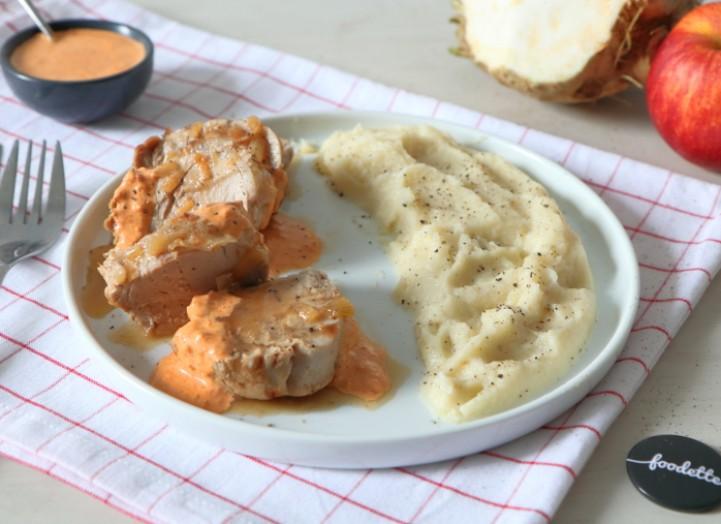 Filet mignon à la crème de chorizo et purée céleri/pomme