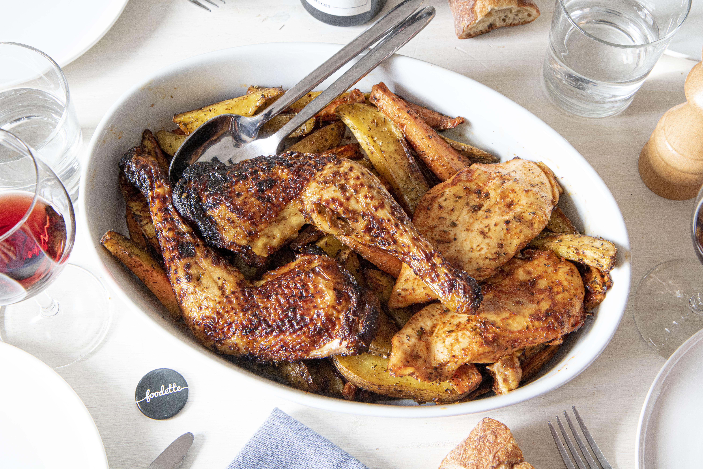 Poulet rôti au paprika fumé, duo de potatoes carottes/pommes de terre aux herbes sauvages
