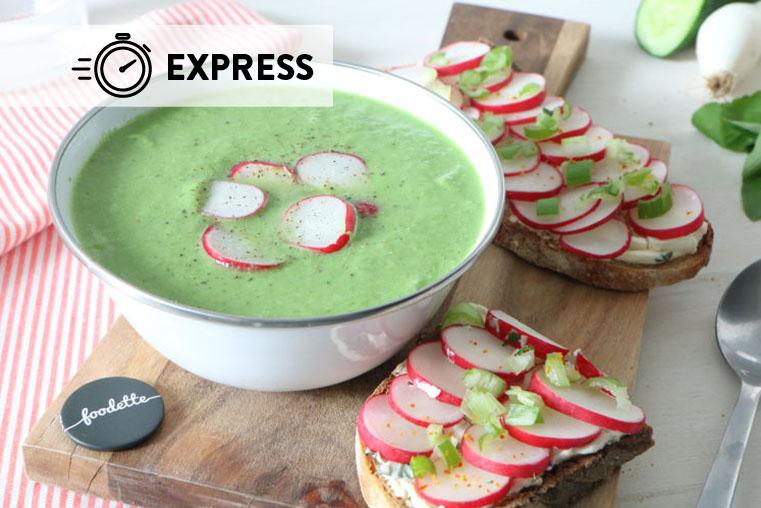 Gaspacho vert et tartines croquantes