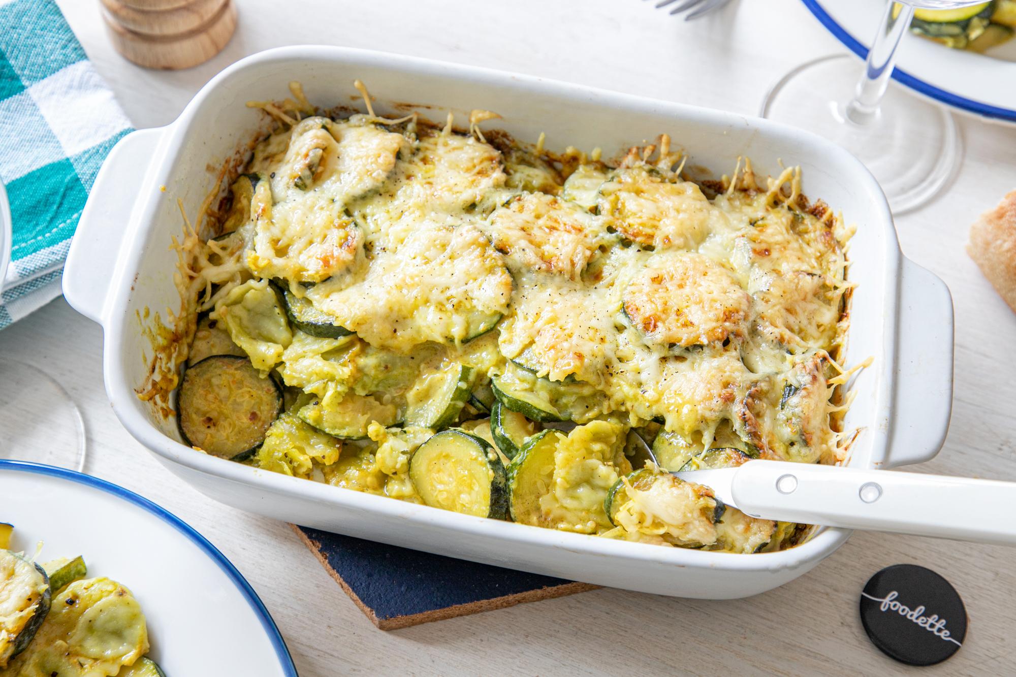 Gratin de ravioles aux courgettes, Emmental et curry doux