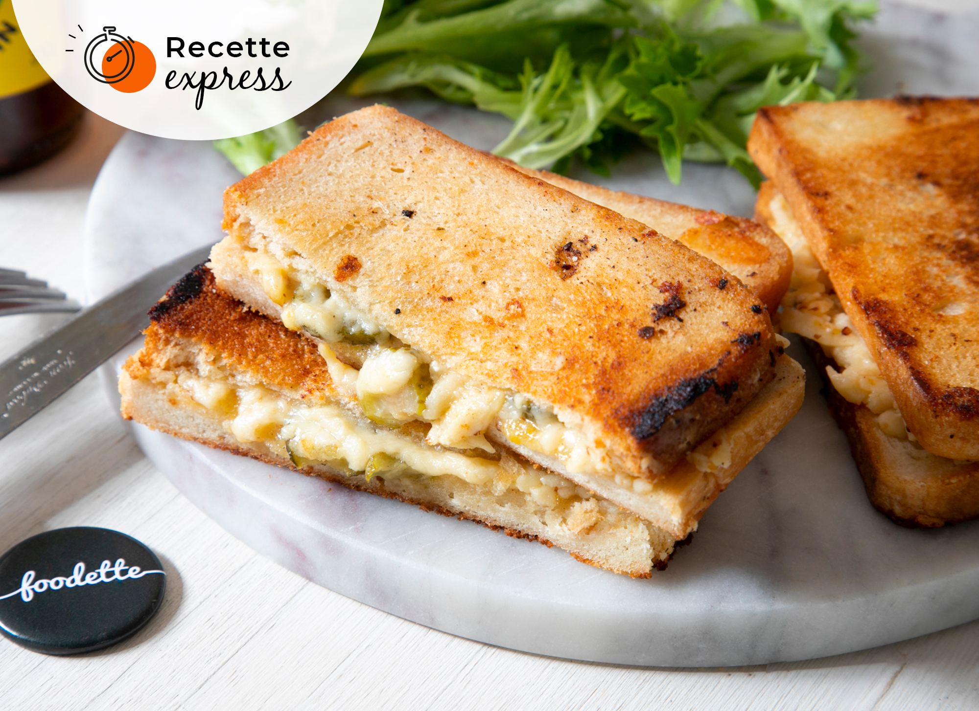 Grilled Cheese, Moutarde au miel et Pickles