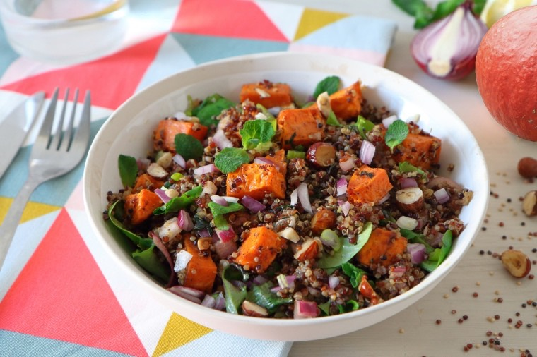 La salade multicolore au potimarron rôti