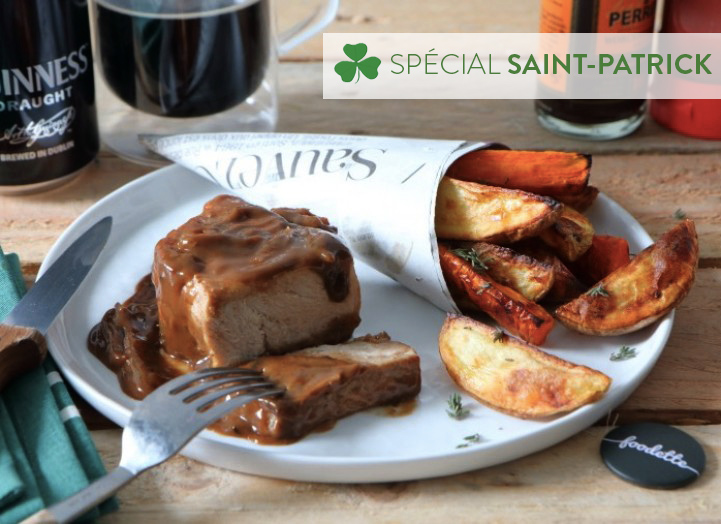 Irish Guinness pork loin, carrot and potato wedges
