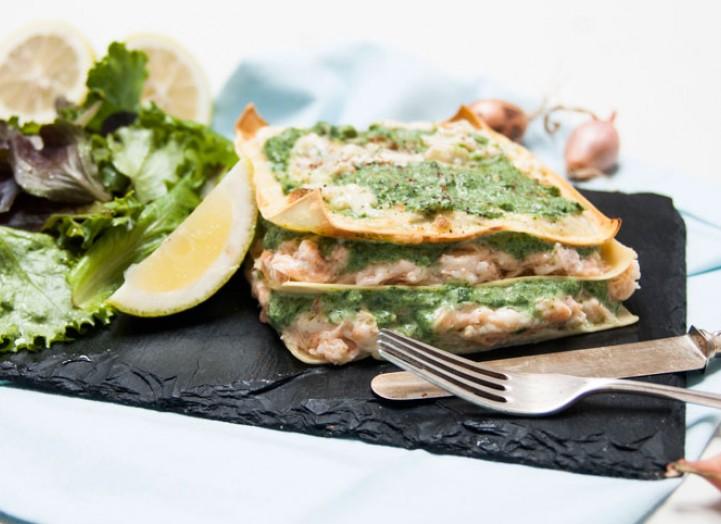 Lasagnes de saumon au cresson