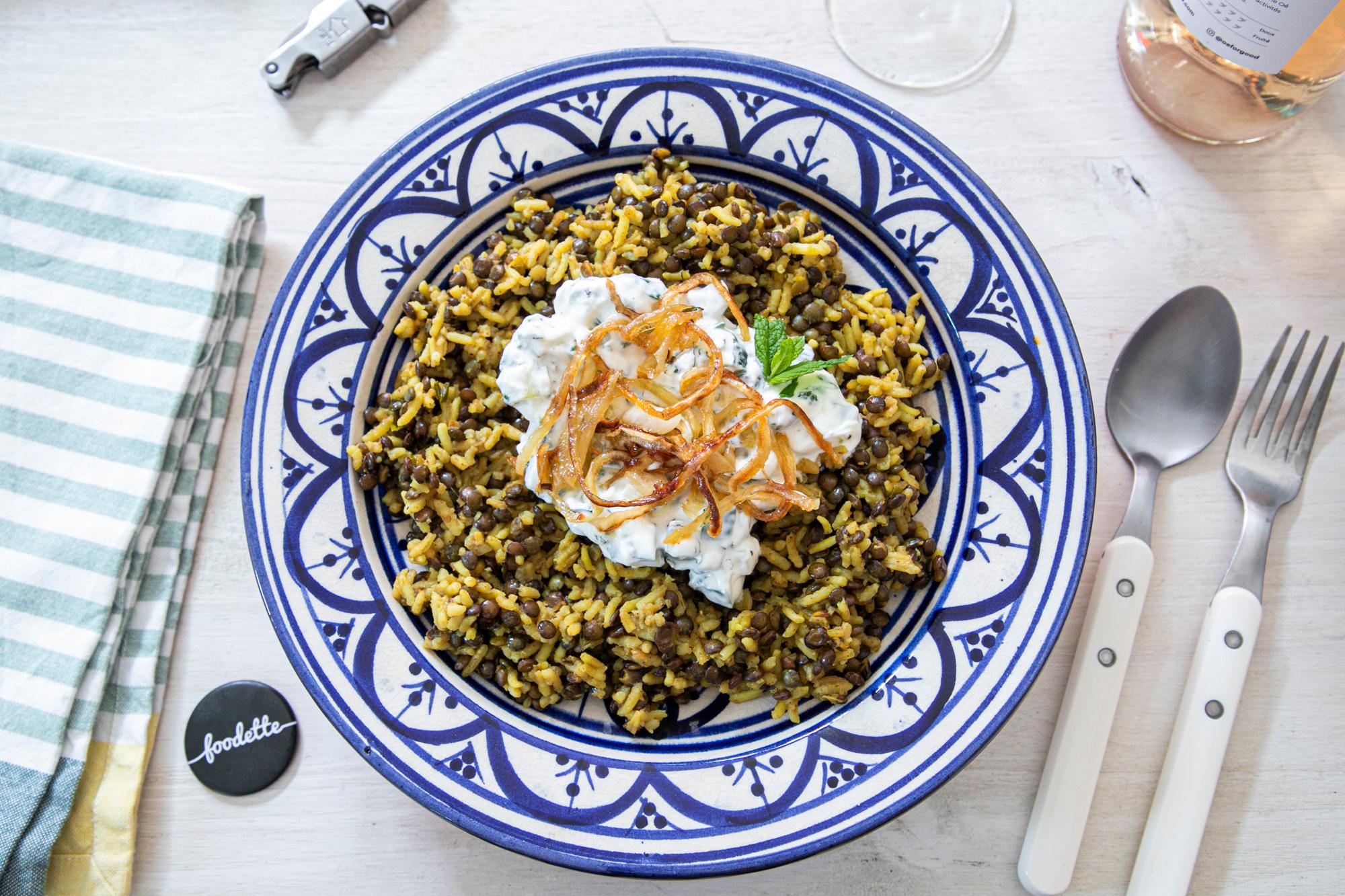 Lentilles à l'égyptienne et tzatziki maison