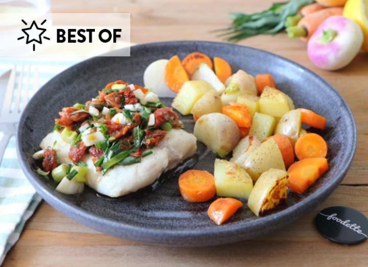 Poisson sauce vierge et légumes nouveaux glacés
