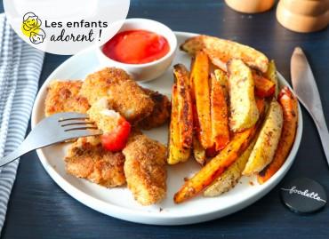 Nuggets de poisson maison, duo de potatoes et ketchup