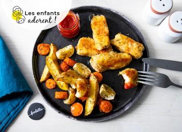 Nuggets de poisson, légumes rôtis et ketchup