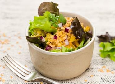 Salade de lentilles corail, poivrons et lin