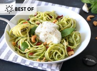Les pasta au pesto verde et Mozzarella di bufala