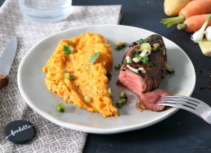 pav de boeuf aux pices douces et mousseline de carottes la recette de pav de boeuf aux. Black Bedroom Furniture Sets. Home Design Ideas