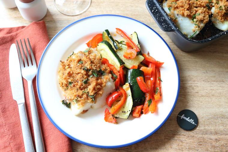 Poisson à la bordelaise et légumes rôtis