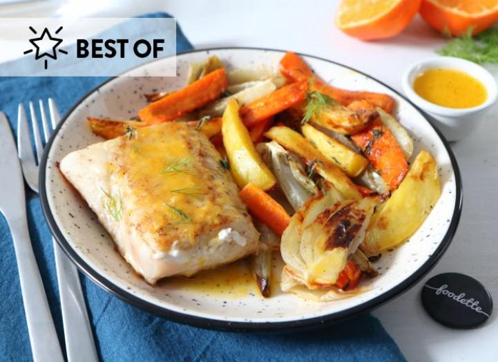 Merlu au beurre d'agrumes et légumes rôtis