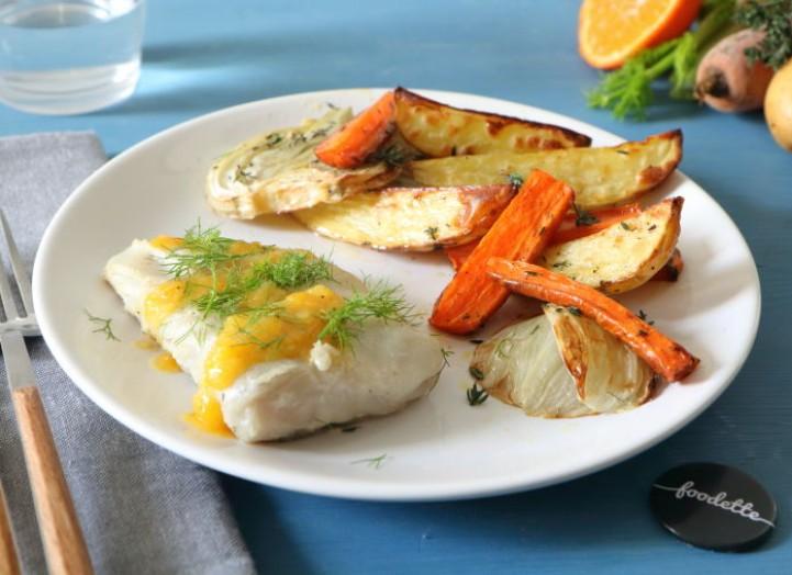 Poisson au beurre d'agrumes et légumes rôtis