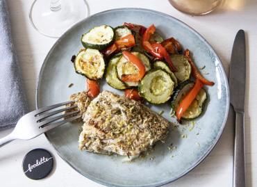 Poisson snacké au zaatar et derniers légumes d'été
