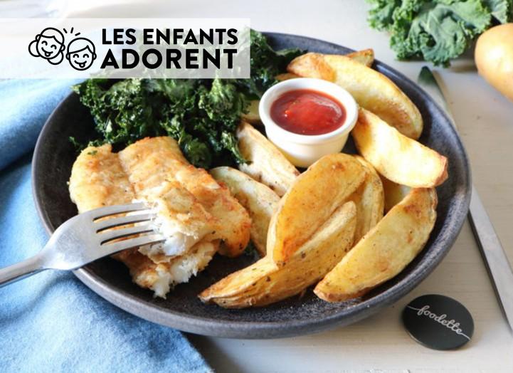 LES SOUVENIRS D'ENFANCE : Poisson meunière, potatoes et chips de kale