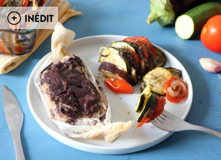 Papillote de poisson à la crème d'olive et tian provençal