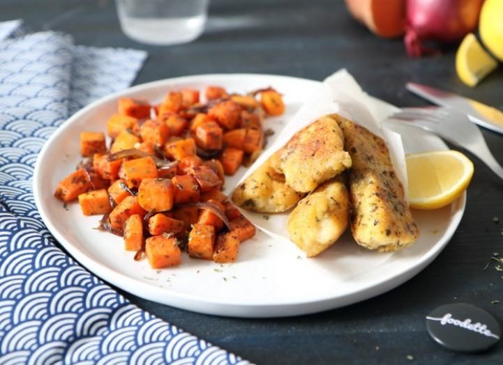 Nuggets de poisson maison au parmesan et patate douce rissolée