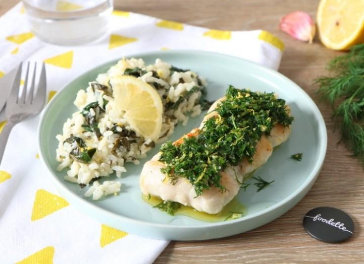 Pêche du moment, gremolata et riz crémeux