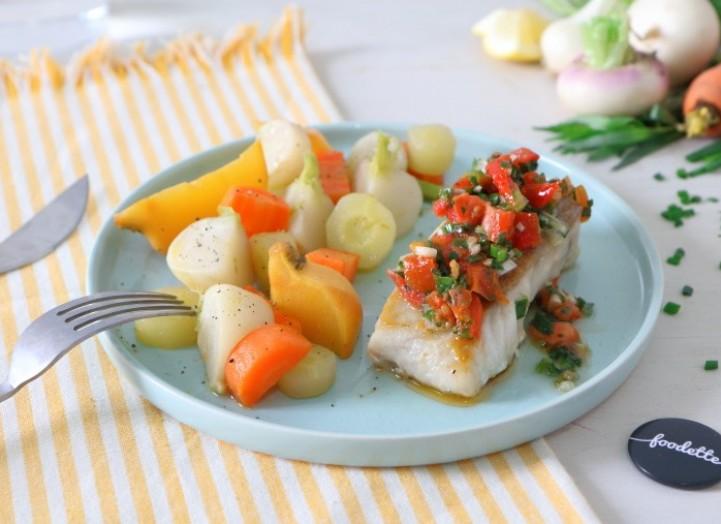 Cabillaud sauce vierge et légumes nouveaux glacés