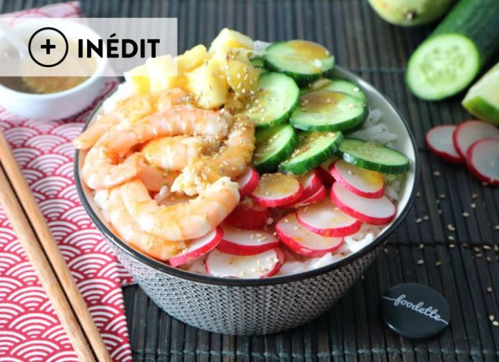 Poké bowl aux crevettes et sauce tropicale (Hawaï)