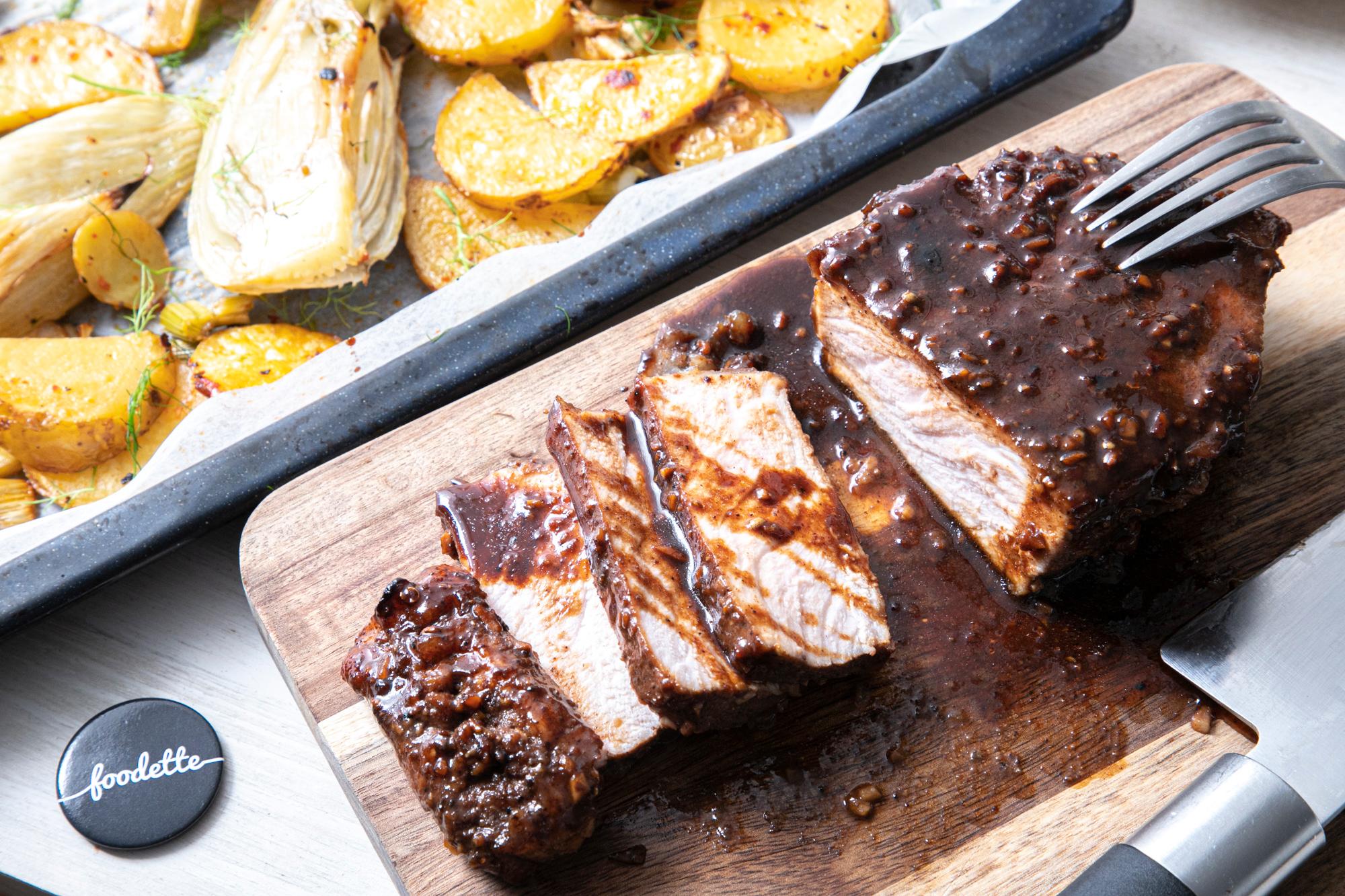 Cochon aux 5 parfums, fenouil et pommes de terre au piment doux