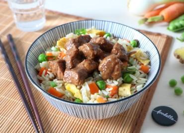 Porc fermier caramélisé et riz à la cantonaise