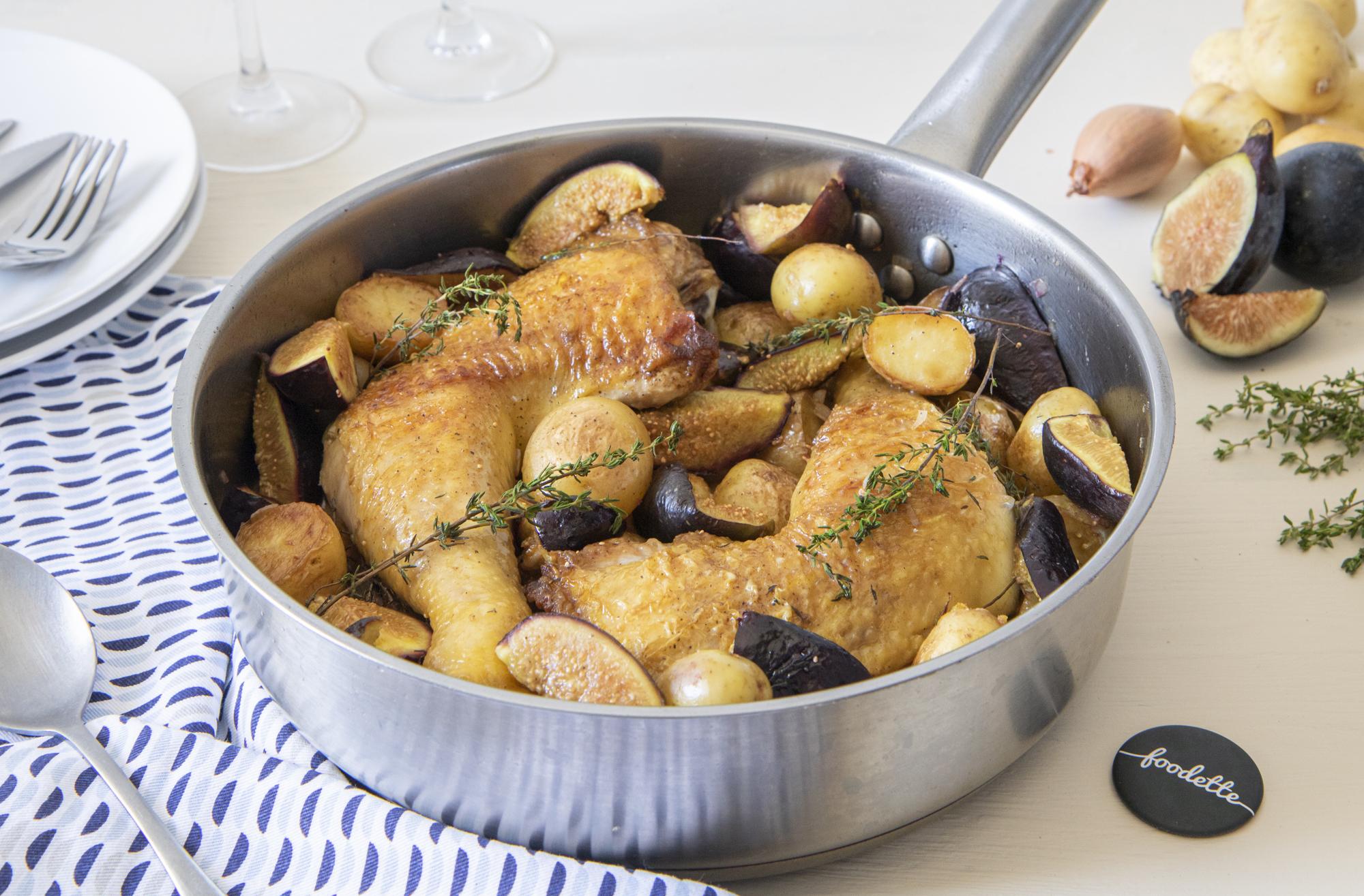 Poulet fermier, sauce aux figues et pommes grenailles rôties