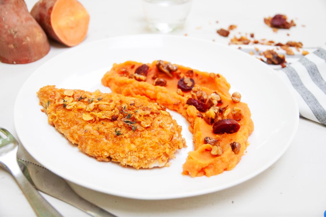 Poulet Pane Aux Cereales Et Puree De Patate Douce Caliente La