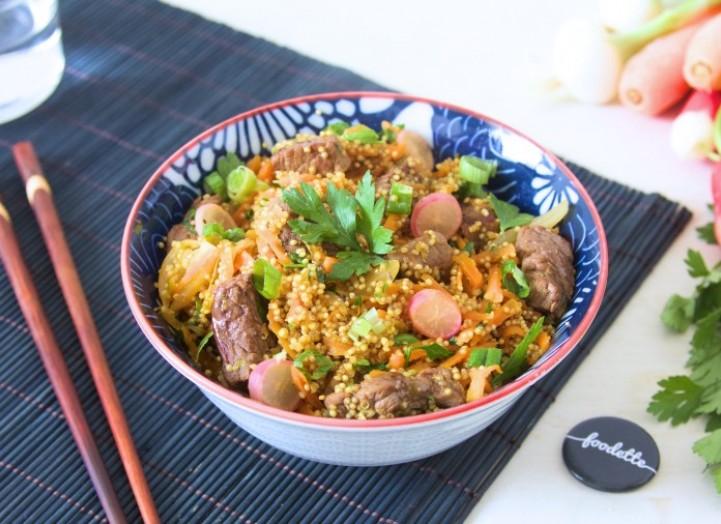 Wok boeuf-quinoa aux légumes nouveaux