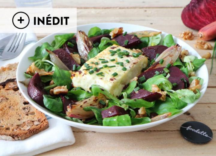 Salade d'automne à la Feta et aux échalotes rôties