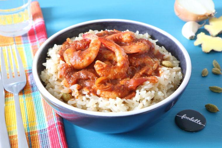 Crevettes Massalé et riz parfumé