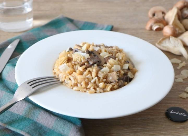 Risotto aux deux champignons et copeaux de Parmigiano Reggiano