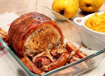 Rôti de porc aux coings, purée de butternut
